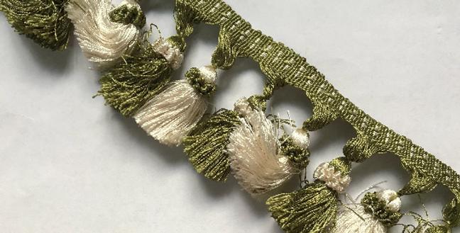 White and Green Tassel Fringe