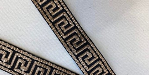 Greek Key Tape Trim - Rose Gold on Black