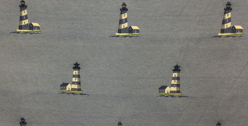 Stripe Lighthouse - Blue and Navy - Beach Decor - Coastal Lighthouse - Navy Blue