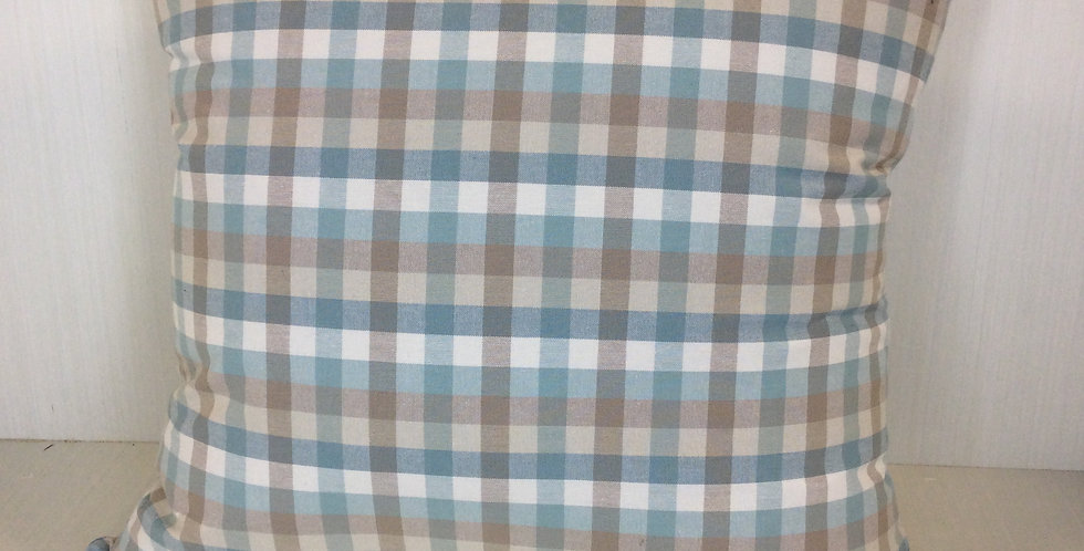 Blue and cream check - check pillow - pillow cover - knife edge - decorative pil