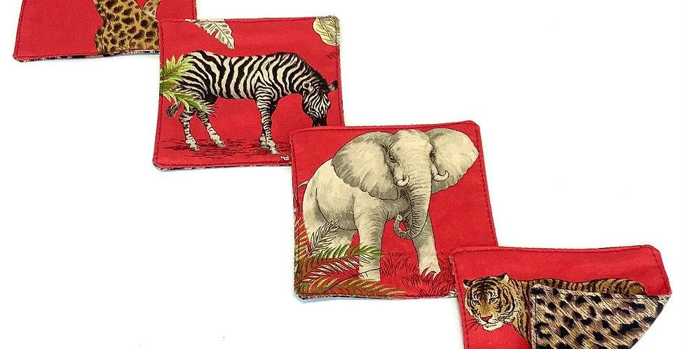 Congo Red - Zebra, Elephant, and Cheetah - Cocktail Napkins - Set of 4