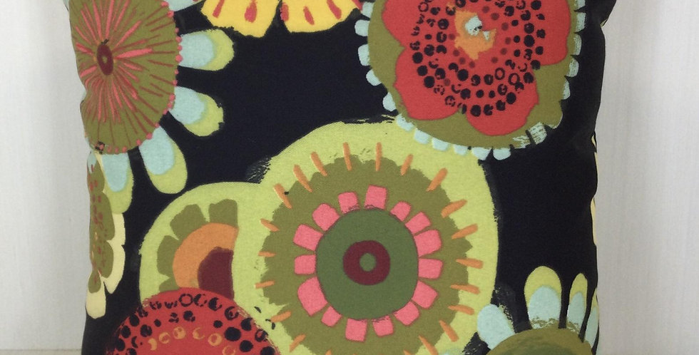 Black Festive Circle Outdoor Pillow Cover