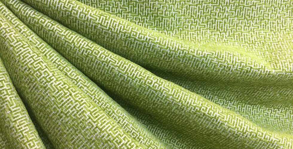Soft Green Chenille Puzzled Upholstery - Heavy Weight Upholstery Fabric - Custom