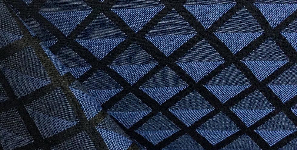 Navy Diamond - Contract - Geometric Pattern Fabric - Dark Navy Blue Fabric