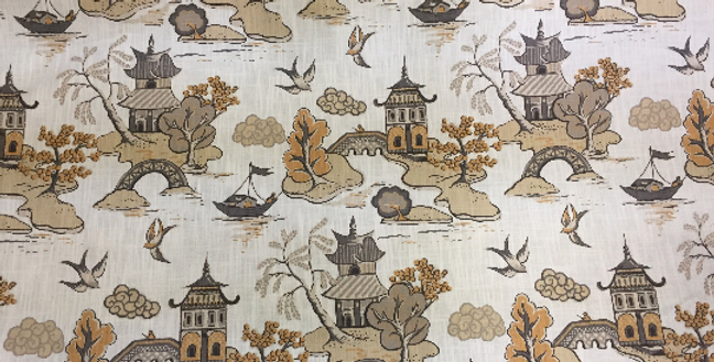 Gray and Yellow Pagoda - Oriental
