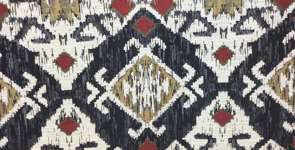 Tremont Charcoal - Tribal Pattern Fabric - Multicolored Tribal Upholstery