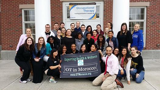 Professor Said Nafai, MS, OTR/L, CLT with his OT students at the American International College, Springfield, MA