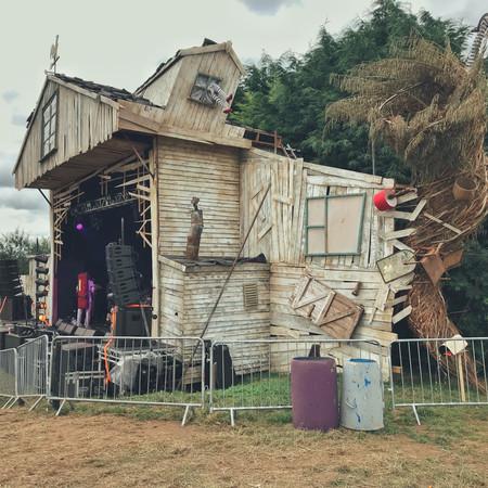 TORNADO, Willow Sculpture, tornado stage design wicker basket ,Music Festival, Nozstock the Hidden Valley, Herefordshire 2019