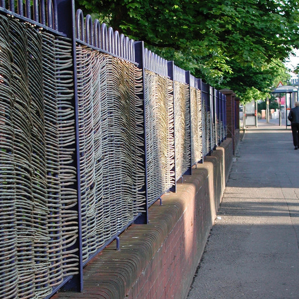 Primary School, Kings Norton.Willow Fencing, Hurdles and Panels. Sustainable, handmade and harvested wicker fencing by Professional Basketmakers Jenny Crisp and Issy Wilkes, Willow with Roots
