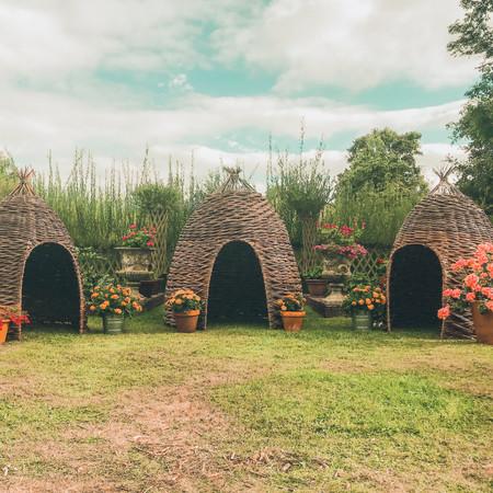 BEE HIVE willow wicker PODS, garden Den, willow sculpture, hideaways Music Festival, Boomtown Fair, Winchester 2016