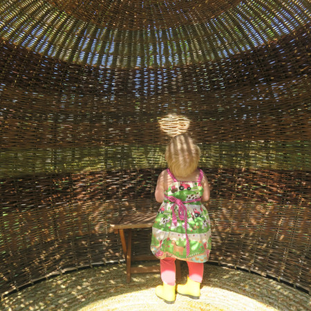 Willow Pod Wicker garden scuplture, By Basket makers and weavers, Jenny Crisp and Issy Wilkes. Commission for Cheslea Flower Show 2019