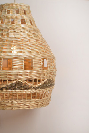 Woven willow lampshade