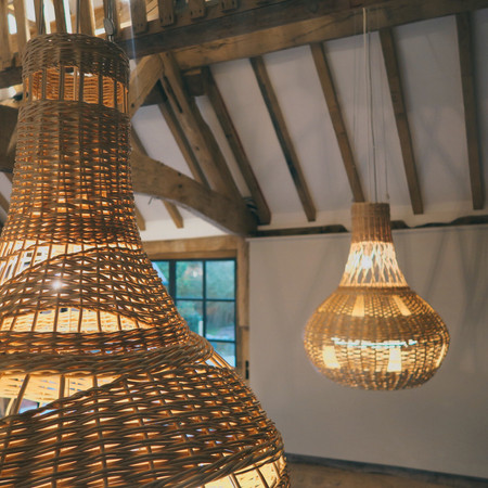Willow Lampshades, wicker lighting woven basket lighting, Pensons Restaurant Herefordshire By Basketmakers and weavers, Jenny Crisp and Issy Wilkes