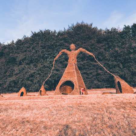 Willow Man Sculpture, 9 meter Wicker Giant, Boomtown Festival By Professional Basketmakers Issy Wilkes and Jenny Crisp