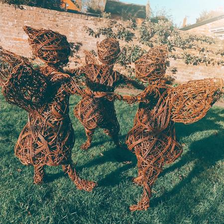 Willow Fairy Sculpture, wicker basket fairies