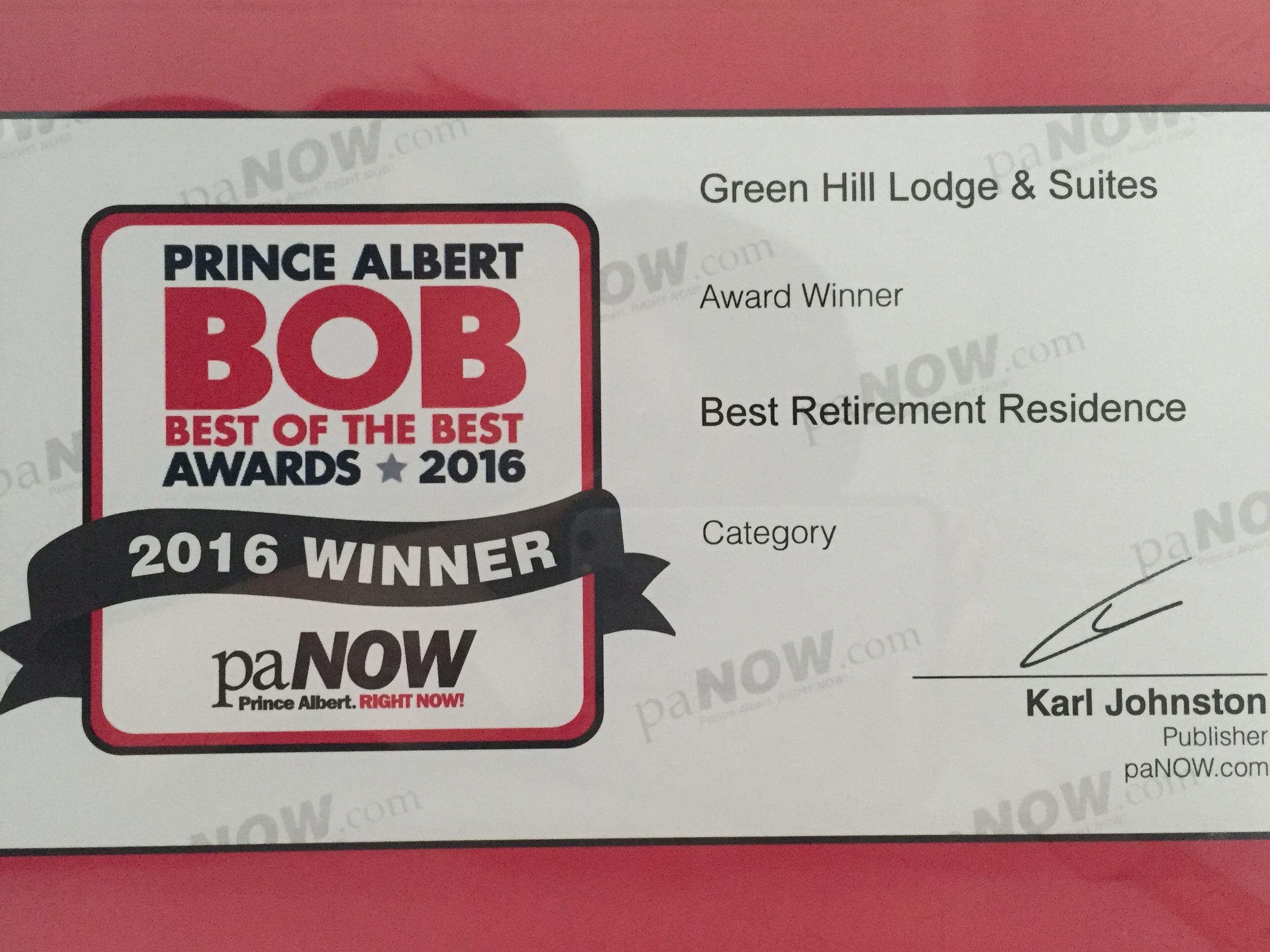 Best of the Best award 2016
