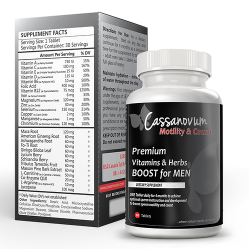 Cassanovum Motility and Count - Premium Vitamins & Herbs BOOST for MEN complete