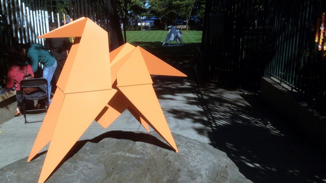 Origami-Horse in the playground