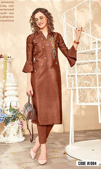 Brown Silk Kurti with bell sleeves