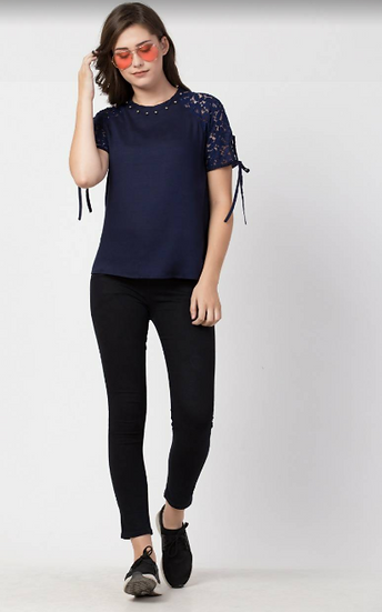 Navy Blue Top with pearl embellishments
