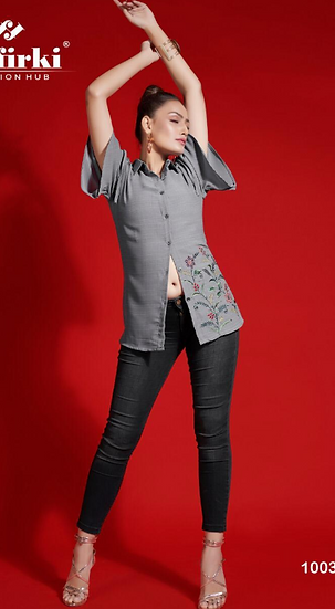Grey Shirt with bell sleeves