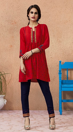 Rayon Embroidered Top and Pant