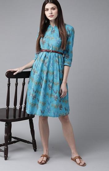 Blue &; Green Printed A-Line Dress