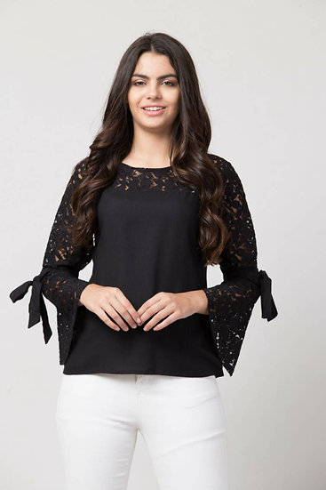 Delux Look Black Rayon Lace Top
