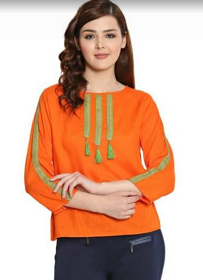 Orange Rayon Top