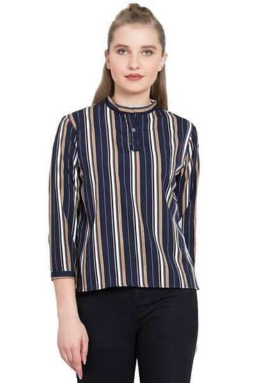 Deluxe Loook American Striped Crepe Shirt