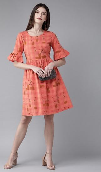 Orange &; Mustard Brown Printed Fit And Flare Dress