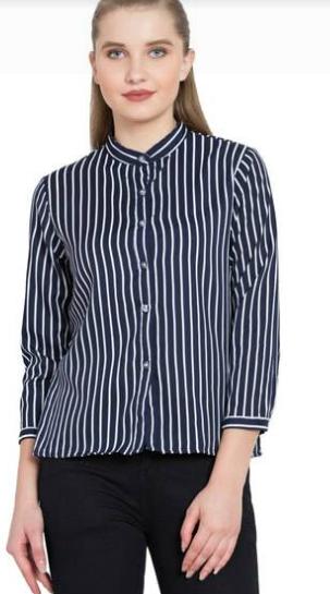 Rayon black &; white striped shirt