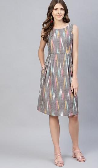 Grey Ikkat Printed Short Dress