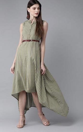 Green &; Yellow Striped Maxi Dress