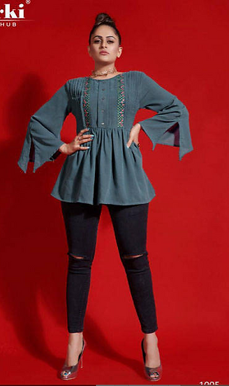 Blue Peplum Top with bell sleeves