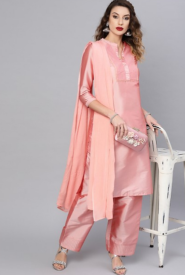 Pink Pin Tucked Kurta Set With Dupatta