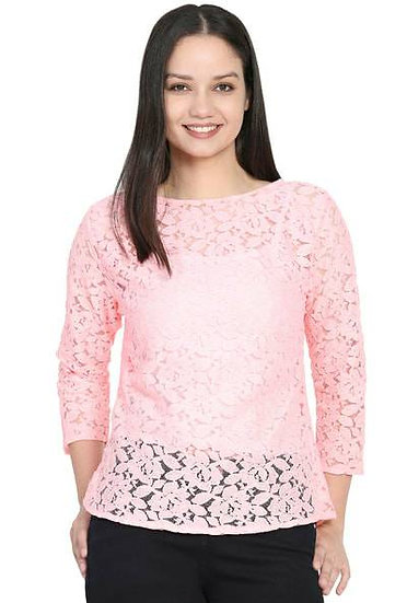 Delux Look Pink Cotton Lace Top