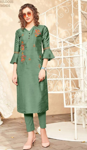 Green Silk Kurti with bell sleeves
