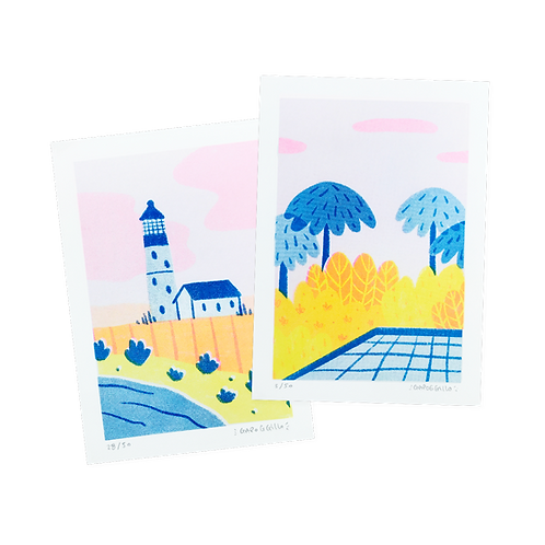 Lighthouse & Pool · Riso · A6