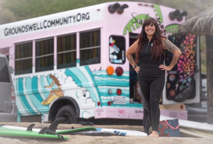 Hand painted Surf Bus made its debut at San Onofre. Now, let's surf.