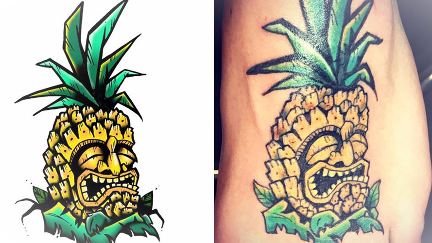 "The ""Grumpy"" Pineapple tattoo commision."