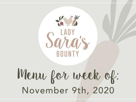 Menu - November 9th, 2020 (SOLD OUT)