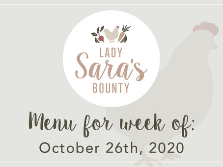 Menu - October 26th, 2020 (SOLD OUT)