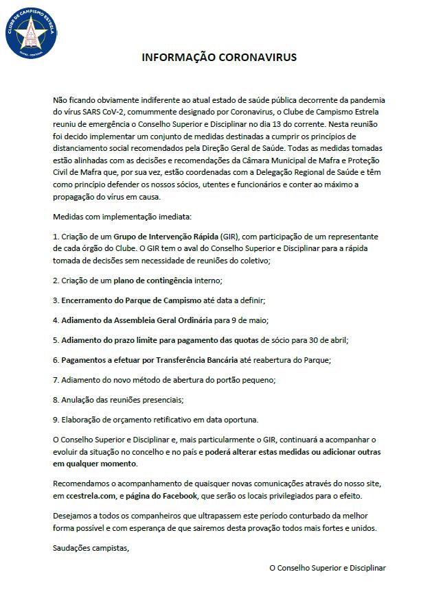 Informação Coronavirus I - CCE