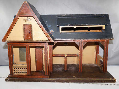 Primitive Wooden Doll House With Stable