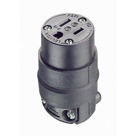 Conector de hule 3 x 15 125V negro mate (pz)