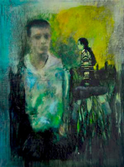 Some Children Have Violin Lessons in Ramallah (2010)  mixed media on canvas with
