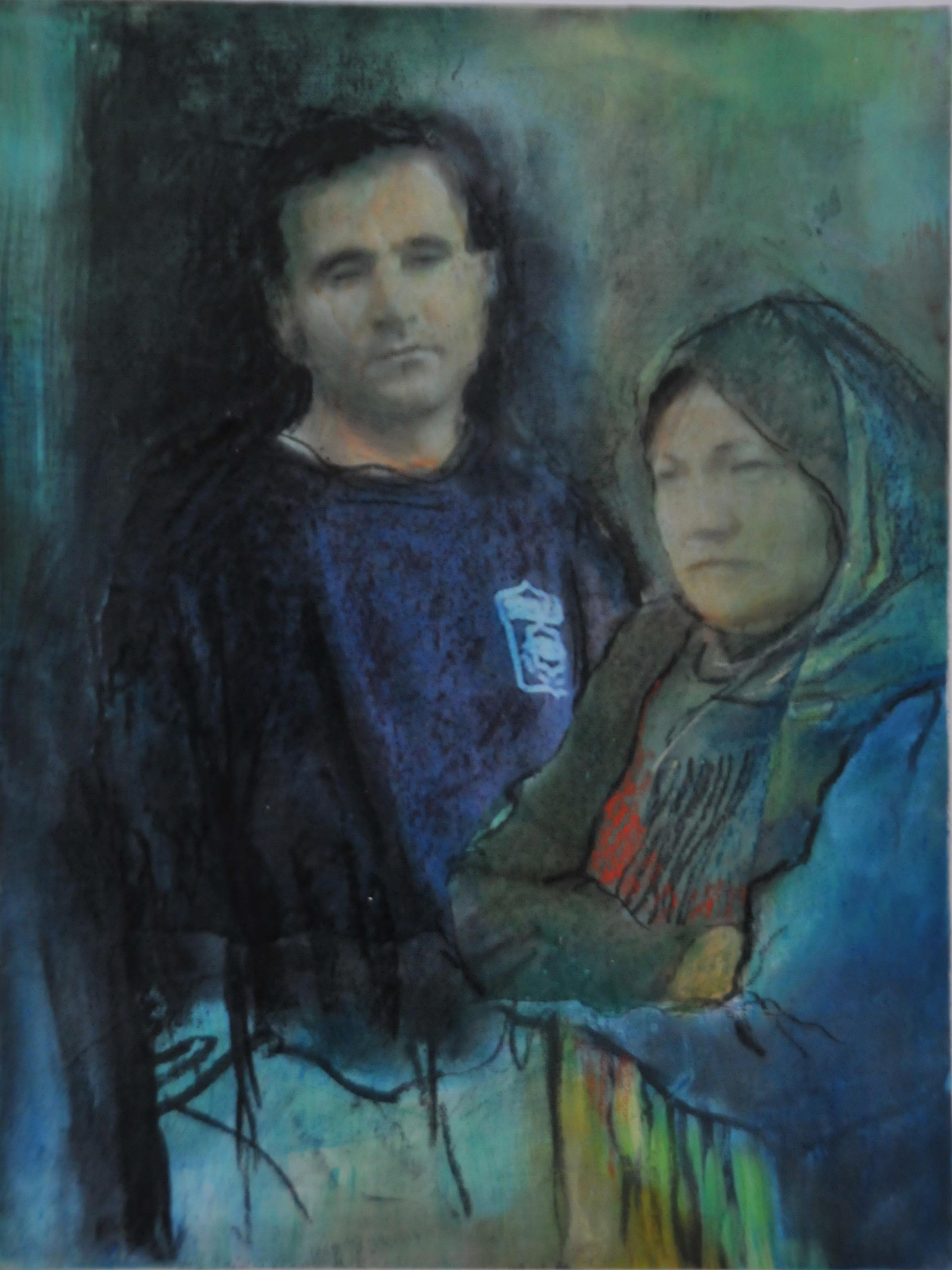 Gillian Holding. Two Palestians (Guard and Dispossessed) 2010. mixed media on ca