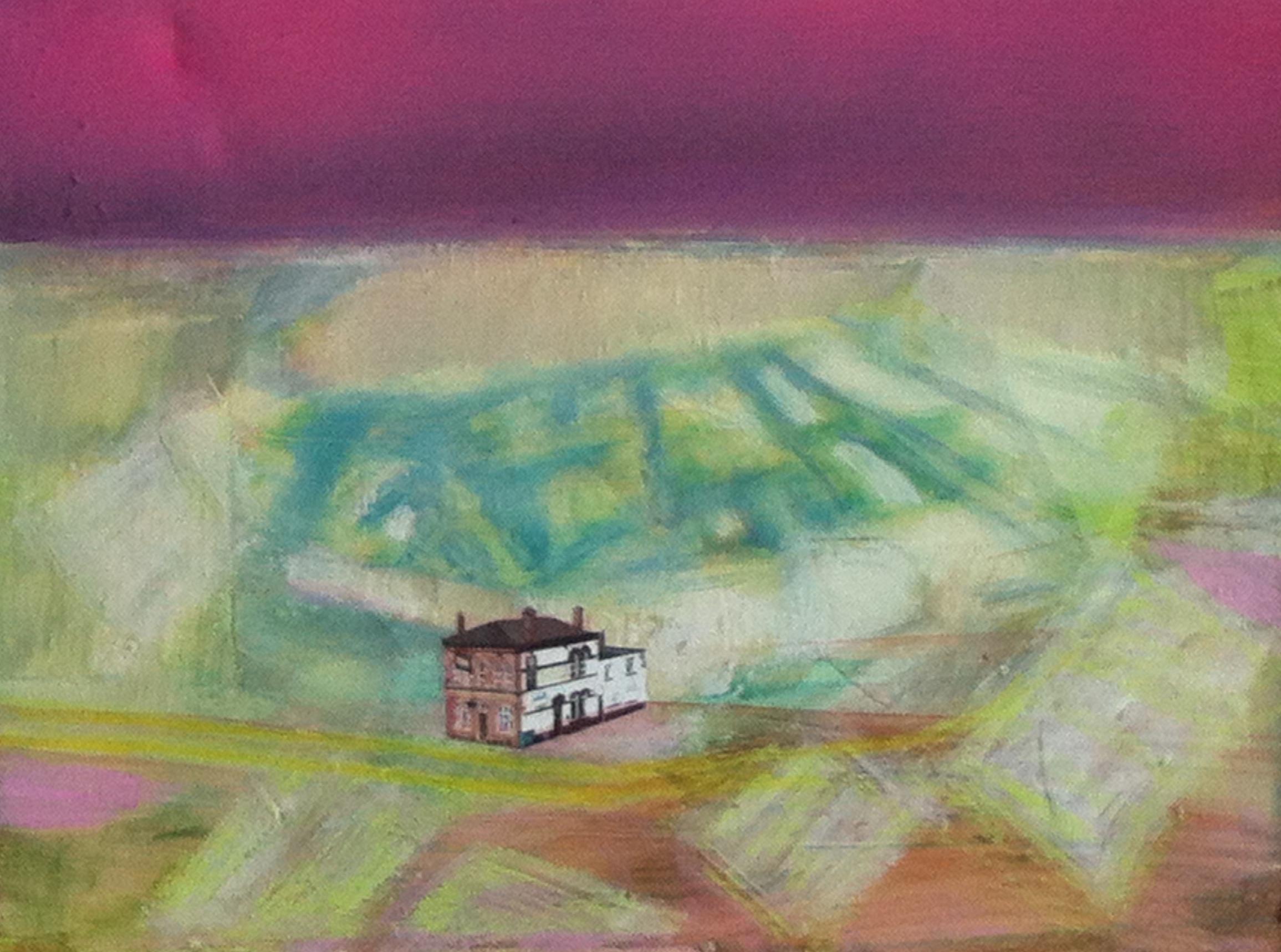 Gillian Holding Edgelands (The Sun Inn) (2013) mixed media on canvas 50cm x 60cm