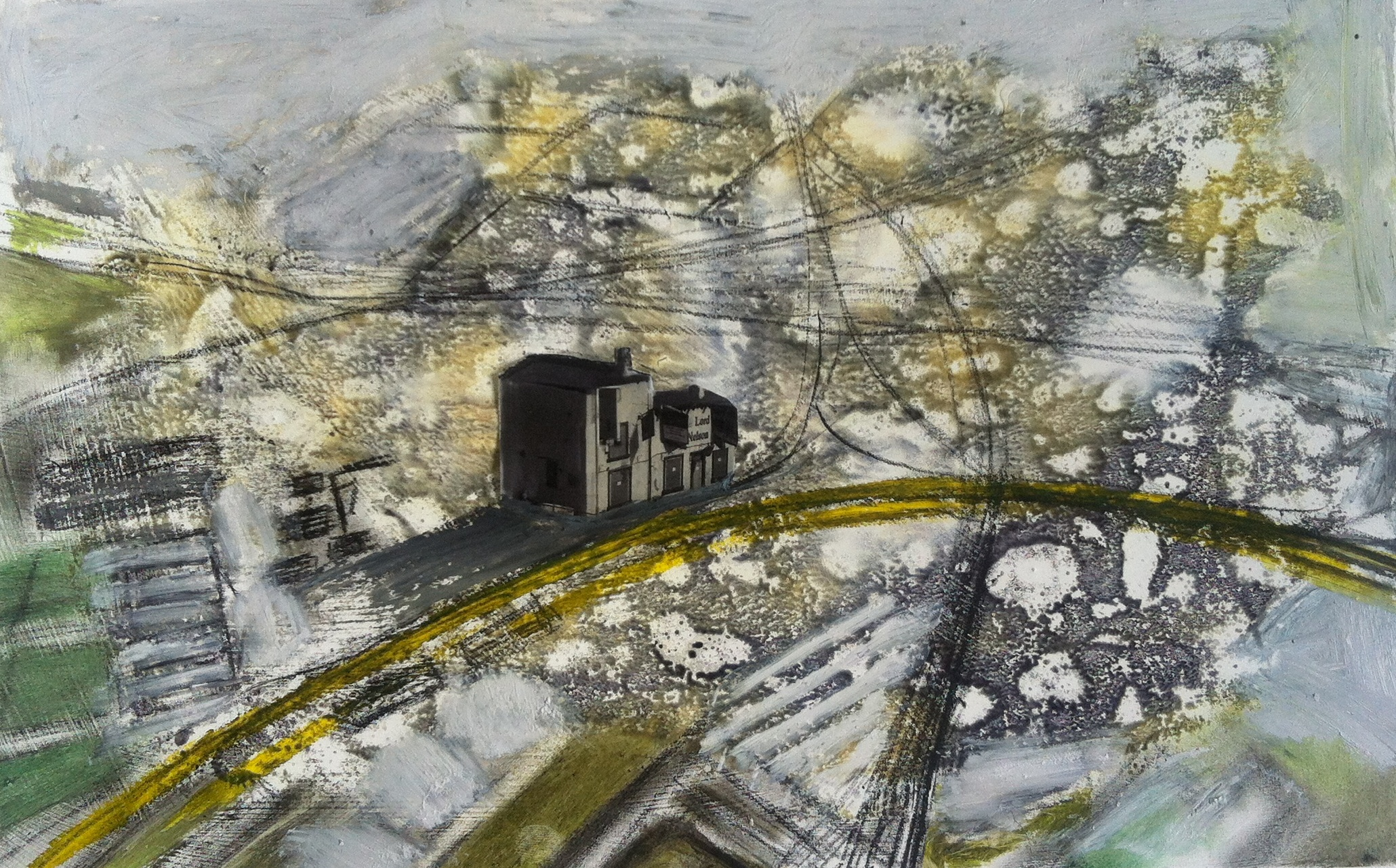 Gillian Holding Edgelands (The Lord Nelson) (2013) monoprint and collage on pape